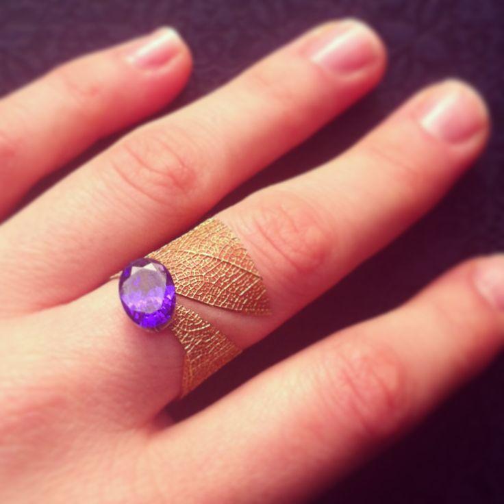 Ring Design by Merve Özdemir Leaf Ring: 2014  Violet Charm Zircone, gold leaf