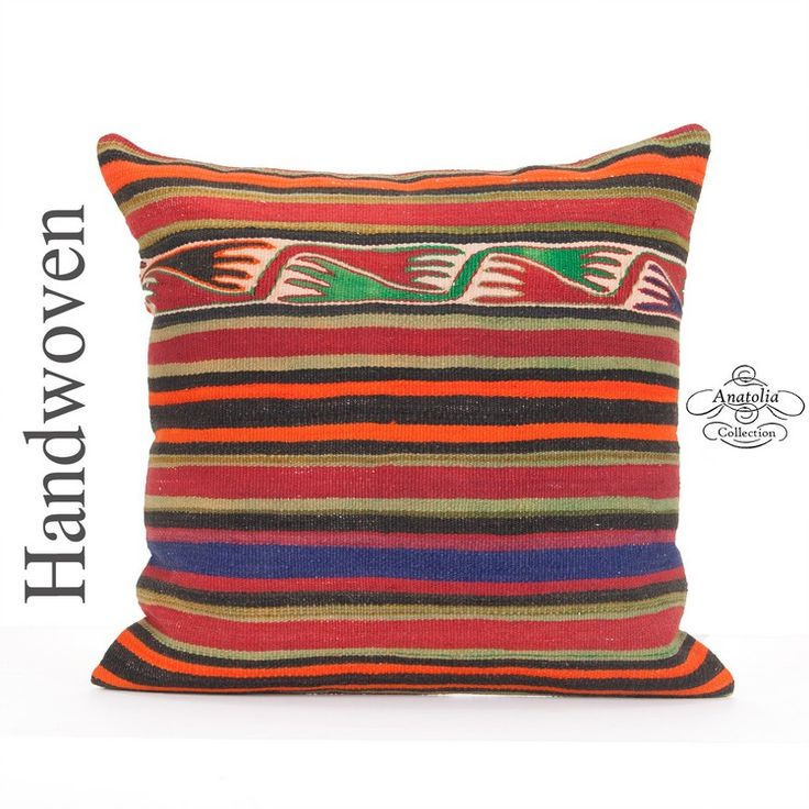 Oriental Kilim Pillow Cover 24x24 Inch Large Striped Anatolian Floor Throw Decorative Colorful Hand Woven Kelim Cushion Tribal Turkish Rug Pillowcase