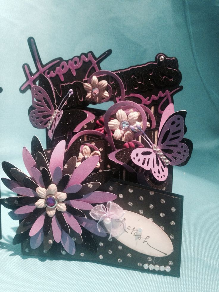 Mother's Day cards ... Cascading card, black & purple-6
