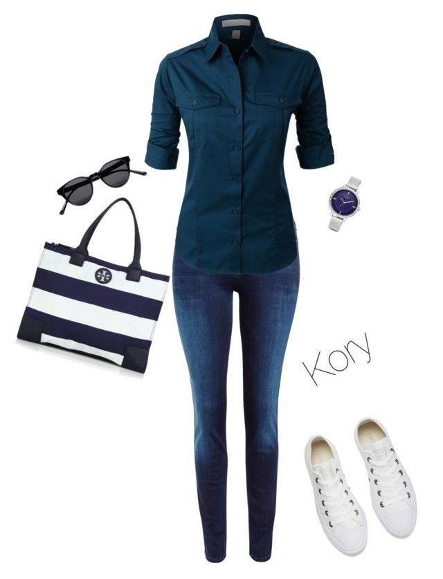 """="" by cory84 on Polyvore featuring Lee, LE3NO, Converse, Tory Burch, Sun Buddies and Nine West"