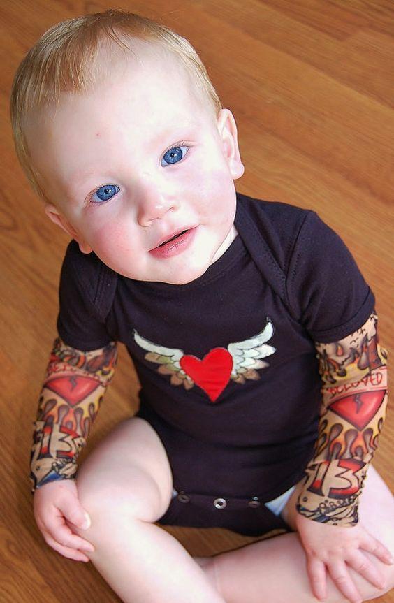 onesie sleeve shirt fake tattoo sleeve tattoo tattoos sleeved baby ...