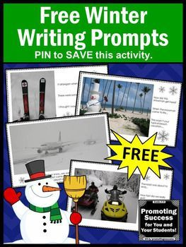 FREE Winter Creative Writing Prompts or Story Starters for Literacy Centers