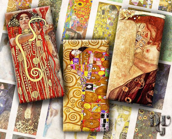 1x2 ech size images Klimt Domino Digital Collage by DreamUpGraphic