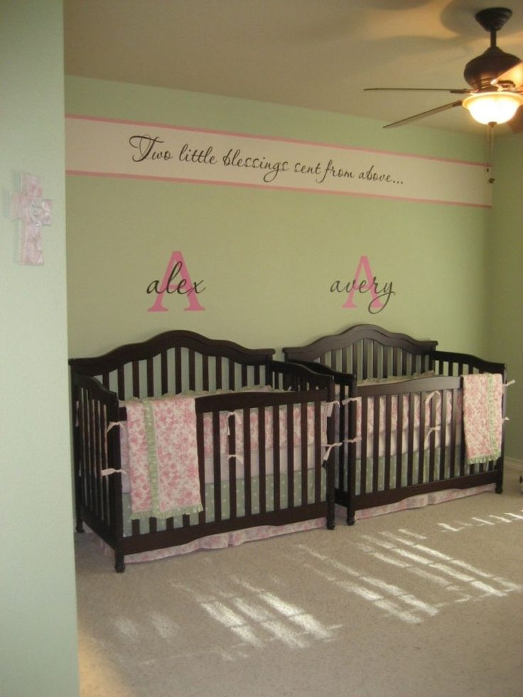 Bedroom Double Black Wooden Baby Crib On Grey Rug Connected By Green Wall Theme Modern Twin Boy Bedroom Ideas Offering Attractive Details