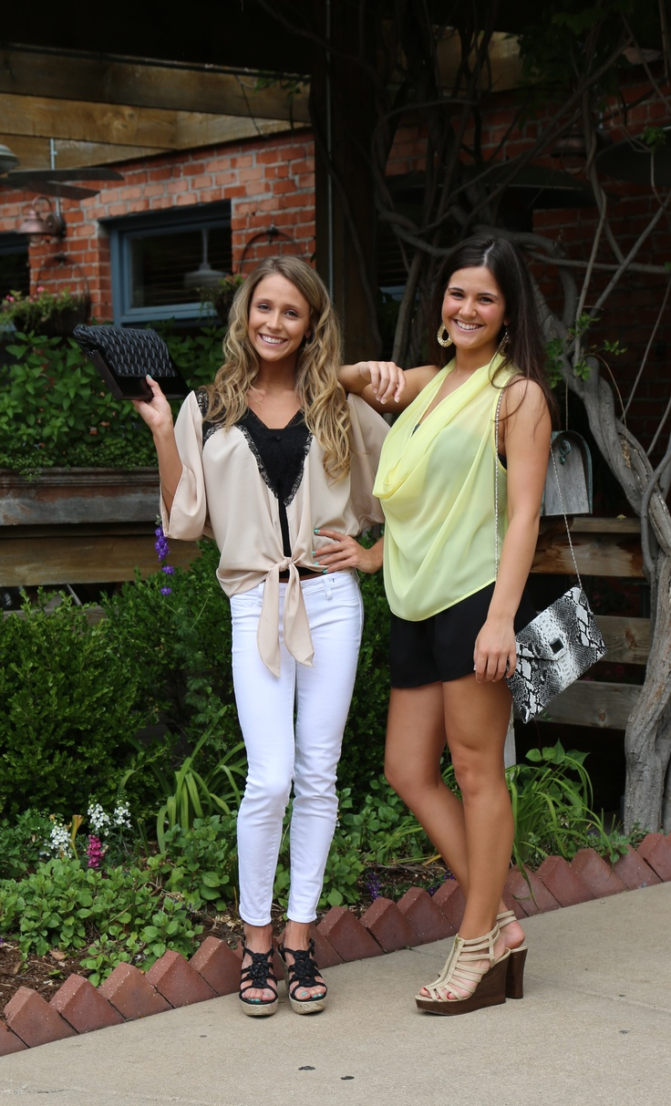 Taupe Tie Front top- $47.00  White Skinny Jeans- $78.00  Black Tap Pants- $32.00  Neon Yellow Top- Sold Out