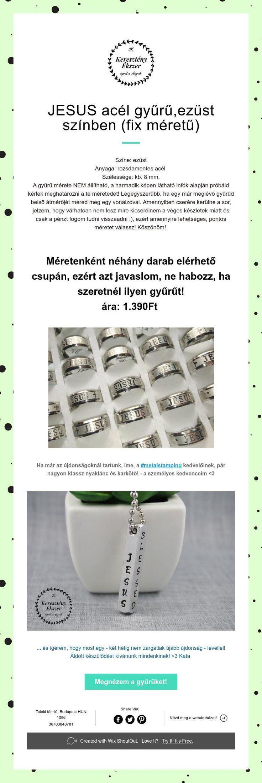 JESUS acél gyűrű,ezüst színben (fix méretű)