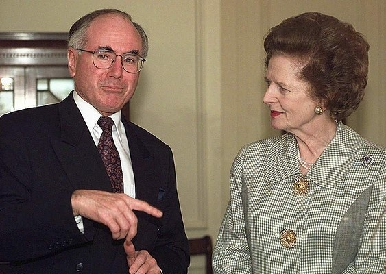 1997 - Australian Prime Minister John Howard greets Baroness Margaret Thatcher in London.
