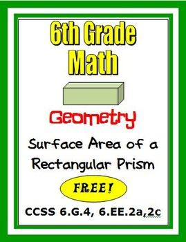 FREE!! This product has two 6th grade activities dealing with surface area of right rectangular prisms, common core standard 6.G.4. Students must draw nets and interpret the surface area.