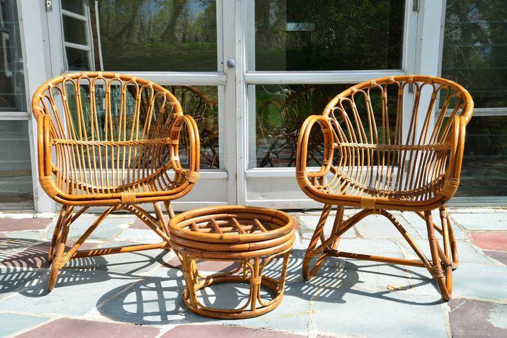 Mid Century Modern Franco Albini style Rattan Chairs Rare! With Ottoman