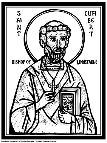 Coloring page for kids about Lindisfarne // Saint Cuthbert