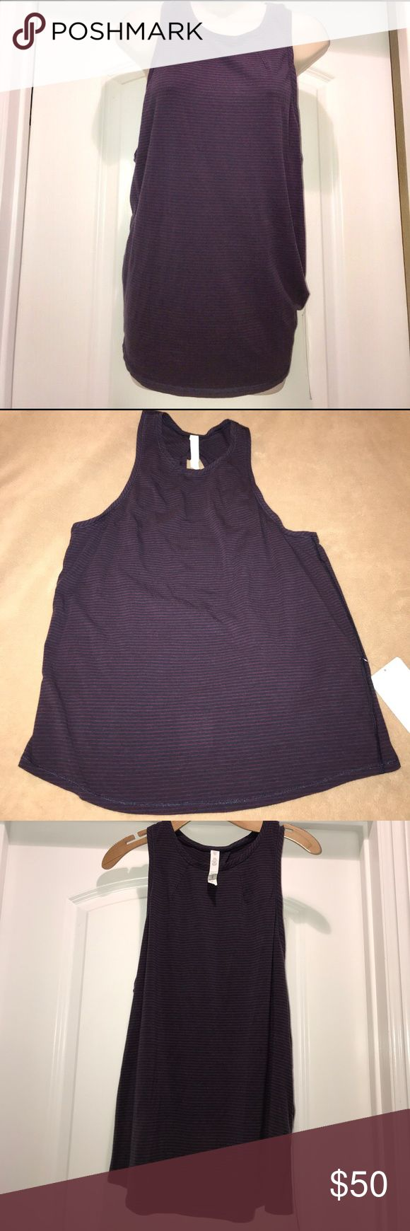 "Lululemon All Tied Up Purple/Navy Striped Tank 10 New with tags, purple and navy striped Lululemon ""All Tied Up"" Tank, size 10. Super cute, hard to find. lululemon athletica Tops Tank Tops"