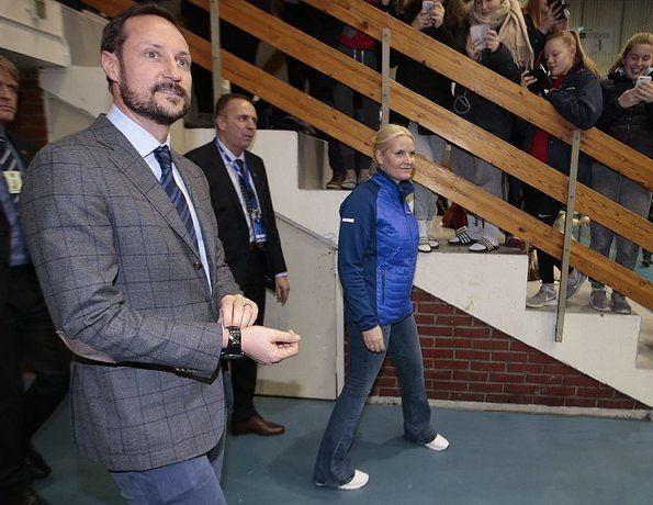 Crown Prince Haakon and Crown Princess Mette-Marit of Norway watched Men's Volleyball Cup 2017 Finals match played between BK Tromsø and Viking TIF at the Ekeberghallen Arena on January 14, 2017 in Nordstrand.