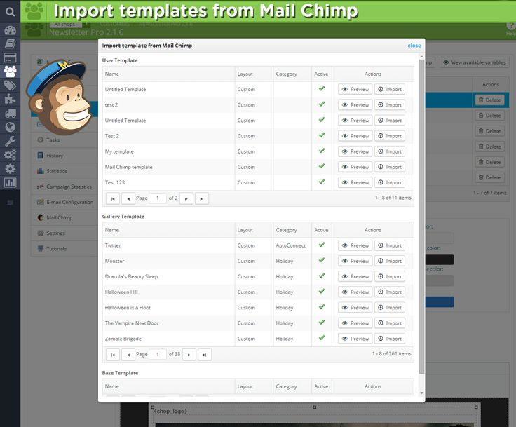 Import templates from Mail Chimp.