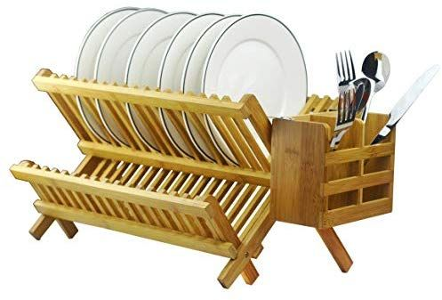 Bamboo Dish Rack 2 Tier Collapsible Drainer Folding Wooden Dish