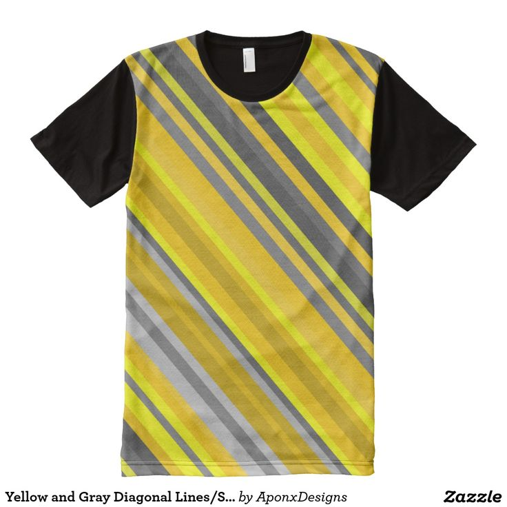 Yellow and Gray Diagonal Lines/Stripes Pattern Shirt