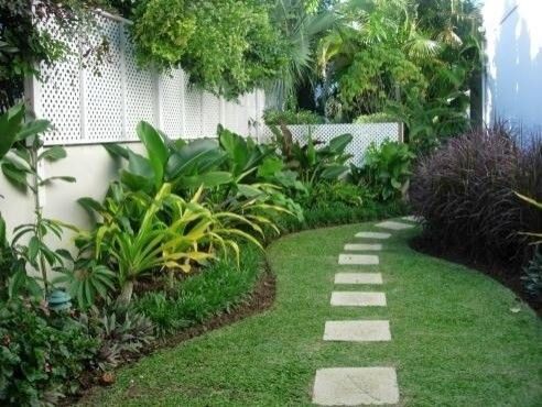 Side stepping stonesLandscapes Ideas, Tropical Landscapes, Back Yards, Step Stones, Side Yards, Backyards Spaces, Yards Design, Landscapes Design, Stepping Stones