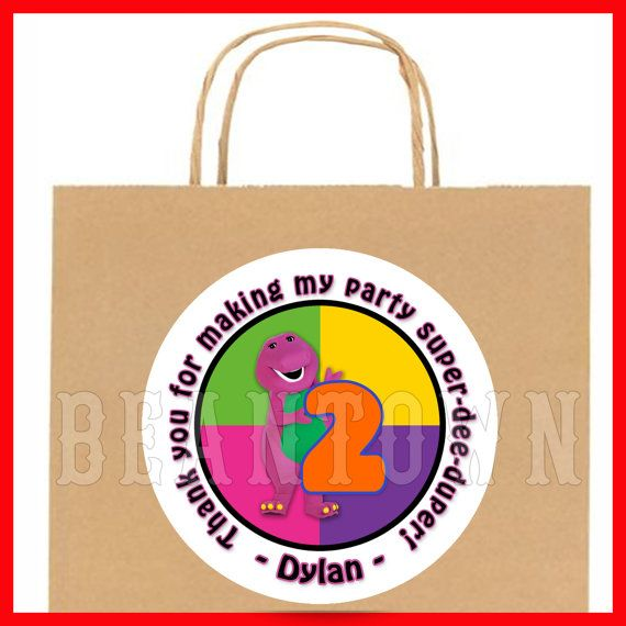Barney the Dinosaur Personalized Birthday Party Favor Stickers Custom Gift Goody Treat Bag Tags Label Labels Sticker