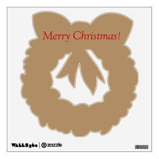 Wall decal with golden wreath.