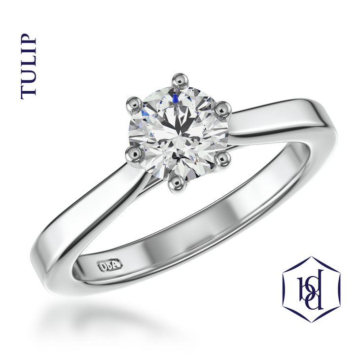 Platinum engagement rings- The 'Tulip' 6 claw round engagement ring Visit www.diamondbyappointment.com for your local stockist