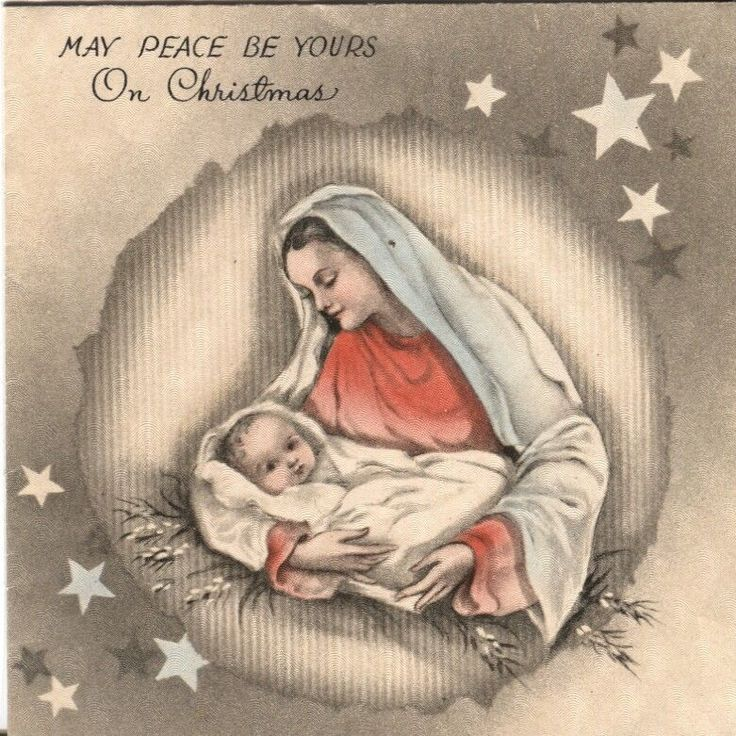 1939 vintage hallmark christmas card mary with baby. Black Bedroom Furniture Sets. Home Design Ideas
