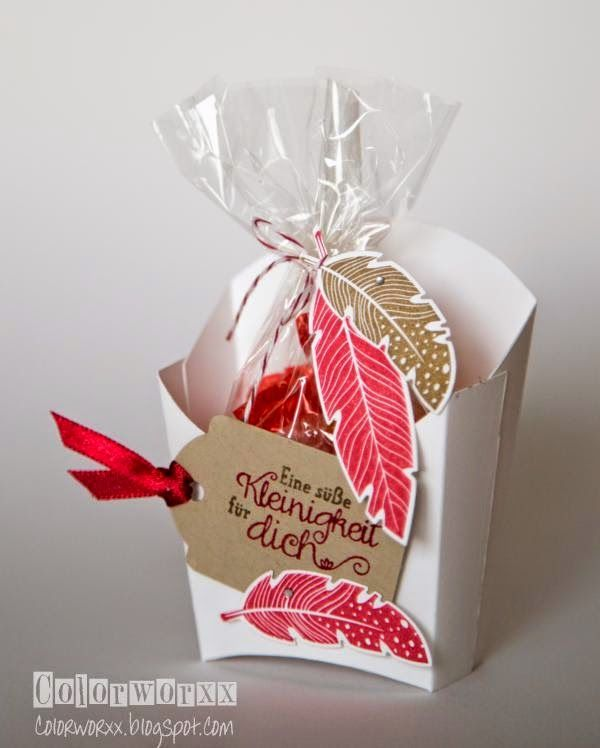 Pommesverpackung mit Federn Stampin Up