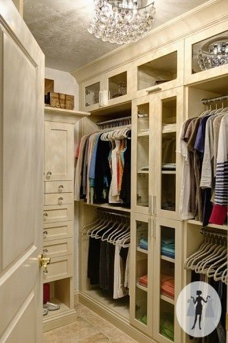 closet idea. Minus glass doors. I just want drawers and open shelving #home #decor