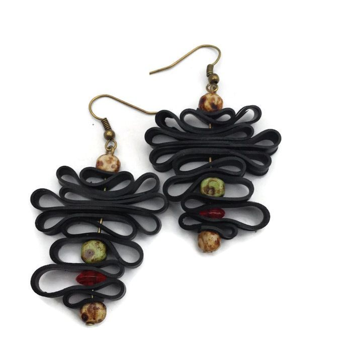 Bohemian upcycled inner tube earrings by Laura Zabo