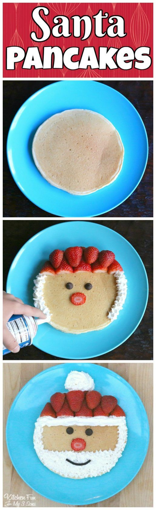 Santa Pancakes...a fun and easy Christmas breakfast for the Kids using Dixie Crystals! #ad