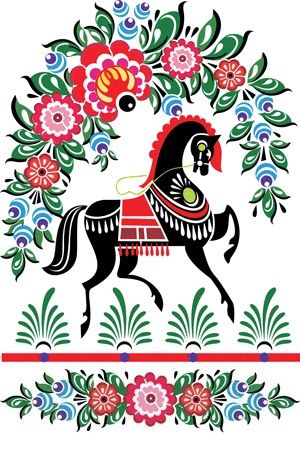 Folk Gorodets painting from Russia. Floral pattern with a horse.