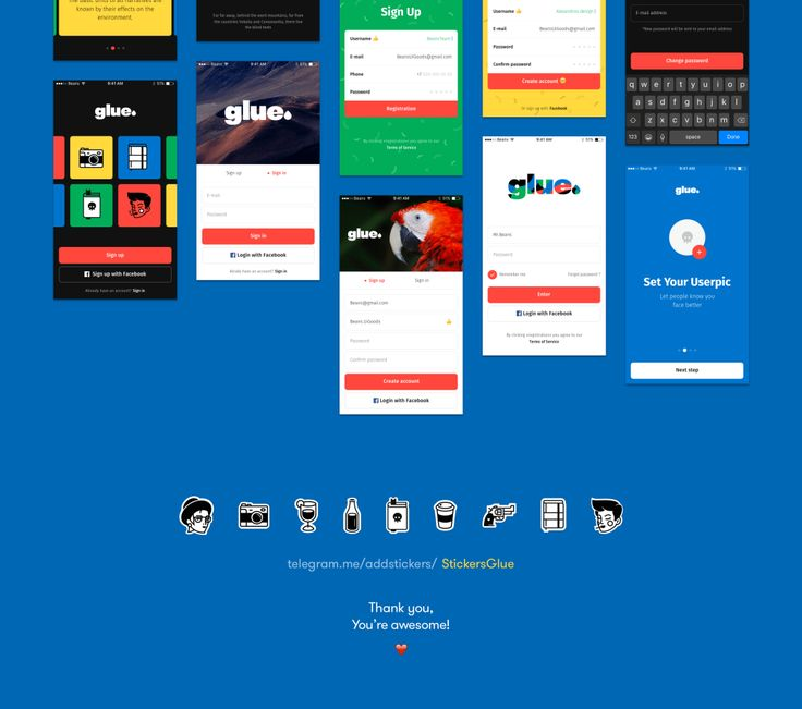 Glue is a big mobile UI Kit, full of crazy-cool UI elements, organized into 100+ qualitative screens for Sketch and Photoshop.