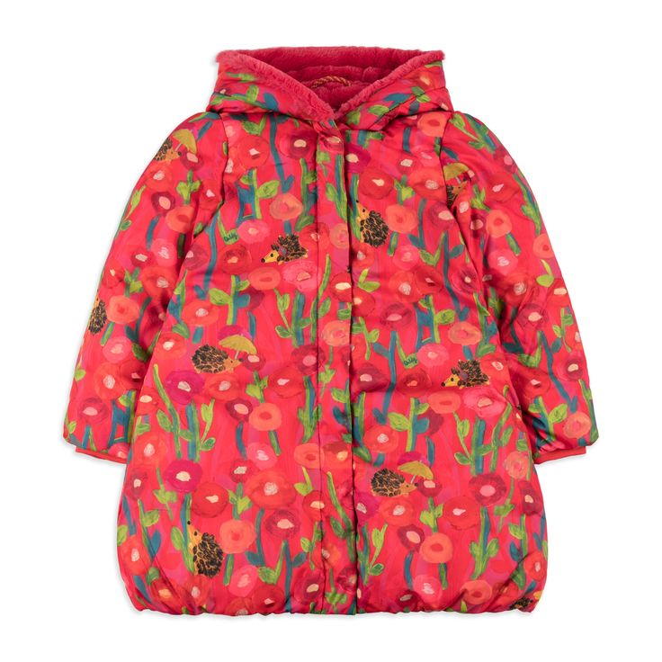 OILILY Girls 'Cecil' Coat - Red From £160 Girls hooded coat • Soft woven fabric • Warm fleece lining • Popper fastening • Elasticated cuffs • Colourful floral hedgehog print • Material: 100% Polyester