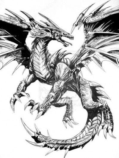 Черно-белый эскиз тату с изображением дракона