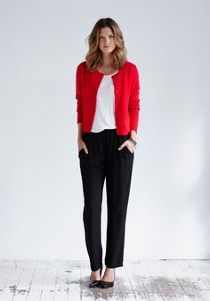 red cardigan outfit - Google Search