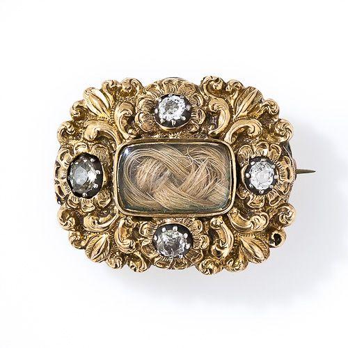 Gold and  diamond memento mori brooch dated Feb, 9th, 1832