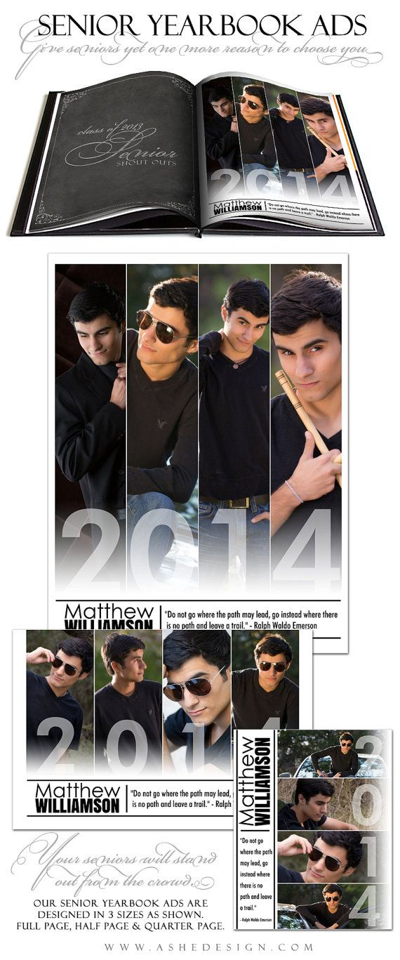 I like the 1/2 page ad best. Senior Yearbook Ad Sets for Photographers  FOLLOW by ashedesign, $14.99