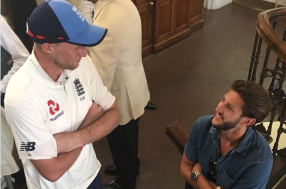 Liverpool's Adam Lallana meets England cricketers Joe Root, Moeen Ali