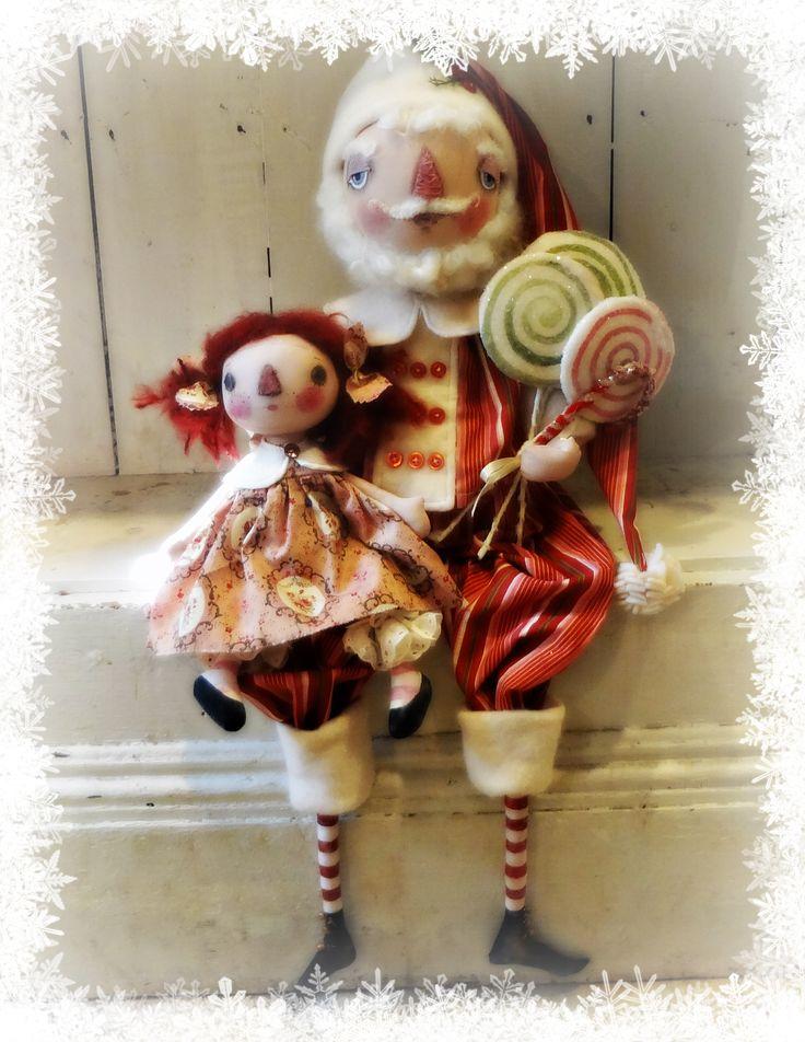 Santa and Annie doll.   The Pixie's Thimble by Cindy COnrad