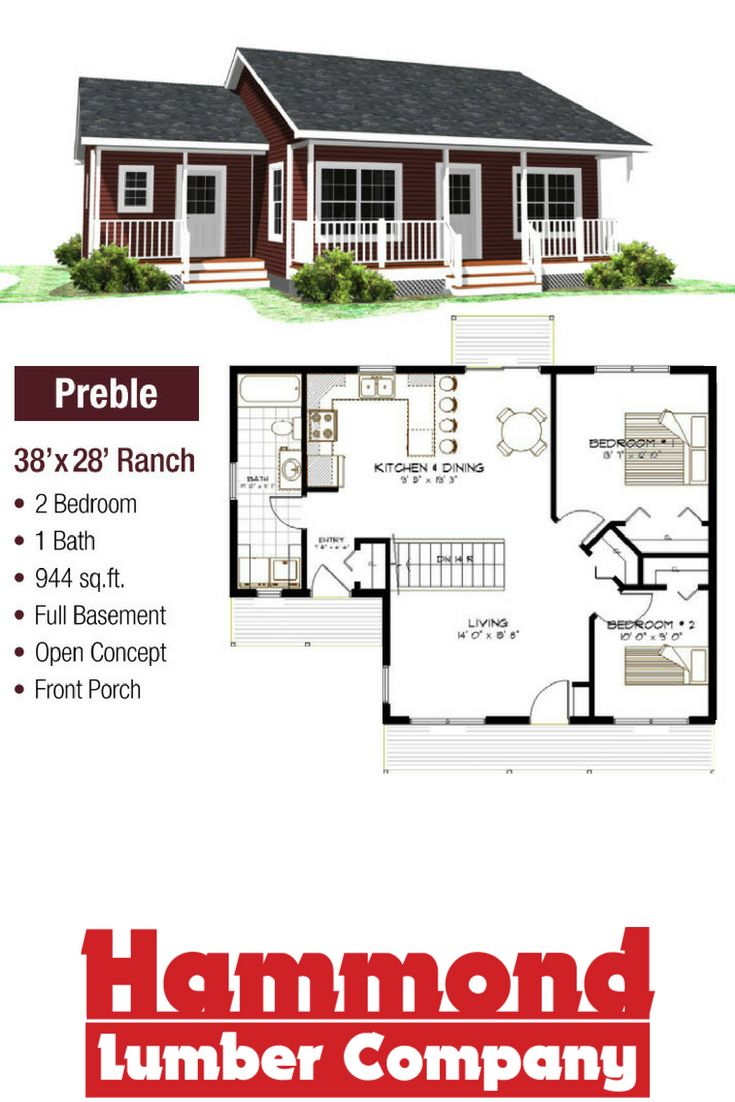 The Preble Is A 38 X28 Open Concept Ranch Style Home That Is 944 Sq Ft It Has 2 Bedrooms 1 Bath Front P Basement House Plans Ranch House Plans House Plans
