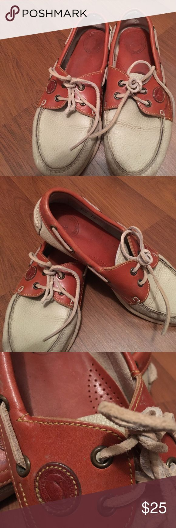 Dooney and Bourke ivory leather boat shoes All weather leather boat shoes by Dooney and Bourke. I just found these in my closet true vintage find. Heavily worn but still good condition considering age. Dooney & Bourke Shoes Flats & Loafers