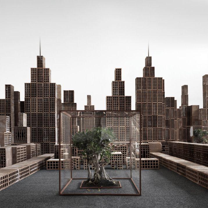 Una città fatta di mattoni. Uno spazio urbano riconoscibile nelle sue strutture essenziali: i palazzi, le strade, gli alberi.. Matteo Mezzadri e la sua città fatta di mattoni. Venite a scoprirla  sul nostro sito ufficiale ! http://artemirabilia.com/artista/matteo-mezzadri/