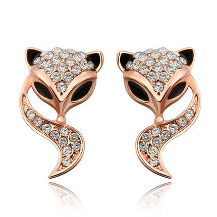 Classic Rose Gold Plated Animal Rhinestone Stud Earrings for Women GPSE173