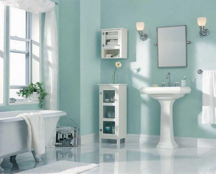 mur couleur vert pastel d eau dans la salle de bain. Black Bedroom Furniture Sets. Home Design Ideas