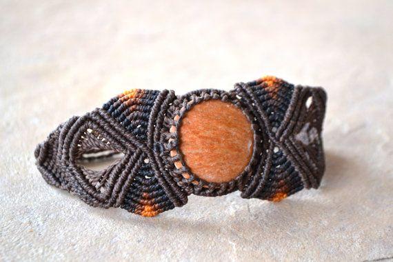 Earth+Fire+Macrame+Bracelet/+Orange+Stone/+Orange+by+SpiritYSol,+$34.00