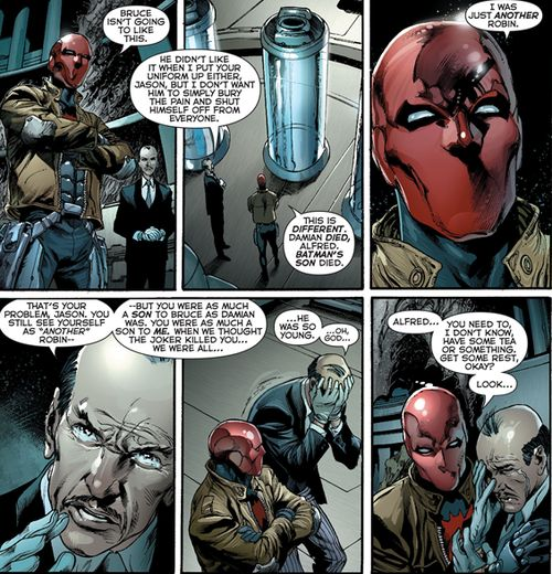 Justice League #19 'Alfred... You need to have some tea.' Jason Todd is just ohhh soooooo amazing at comforting people.