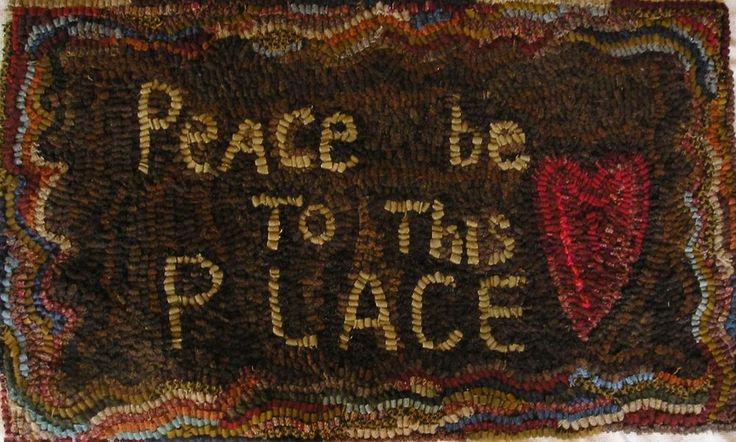 HAND  MADE PRIMITIVE HOOKED RUG ~ PEACE ~  FOLK ART ~  #Primitive #SUSANKILDUFF