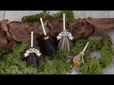 2016 VIDEO   This witchbroom is made with a small lollipop / lollipop and is suitable for Halloween or in autumn as a table decoration and as a little goodie.    Halloween Lolli-Hexenbesen  mit Produkten von Stampin'Up!® (cm+inch)