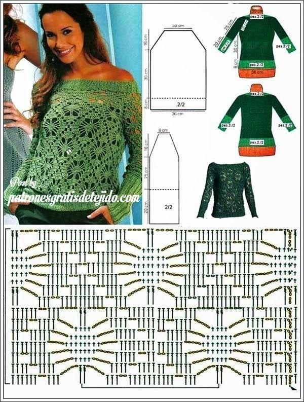 Patrones de blusa crochet con escote recto y terminaciones de dos agujas | Crochet y dos agujas