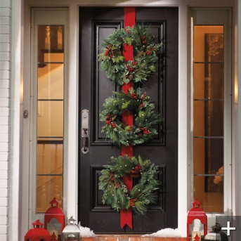 Three Christmas Wreaths on Red Ribbon for Front DoorChristmas Wreaths, The Doors, Black Doors, Doors Decor, Christmas Doors, Outdoor Christmas Decor, Martha Stewart, Front Doors Wreaths, Holiday Decor