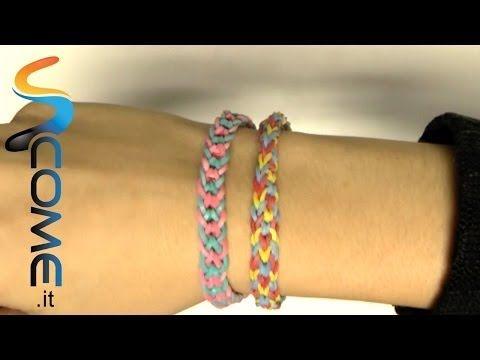 Tutorial braccialetti elastici invertiti con Rainbow loom - YouTube