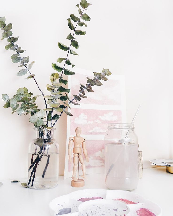 Desk staples: Eucalyptus and pink clouds ☁️🌿